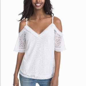 WHBM Lace Blouse Cold Shoulder Tank Top Ruffle